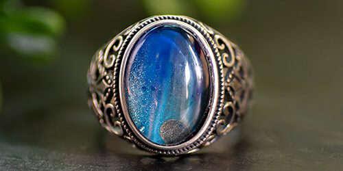 Sterling zilveren herenring met blauwe steen