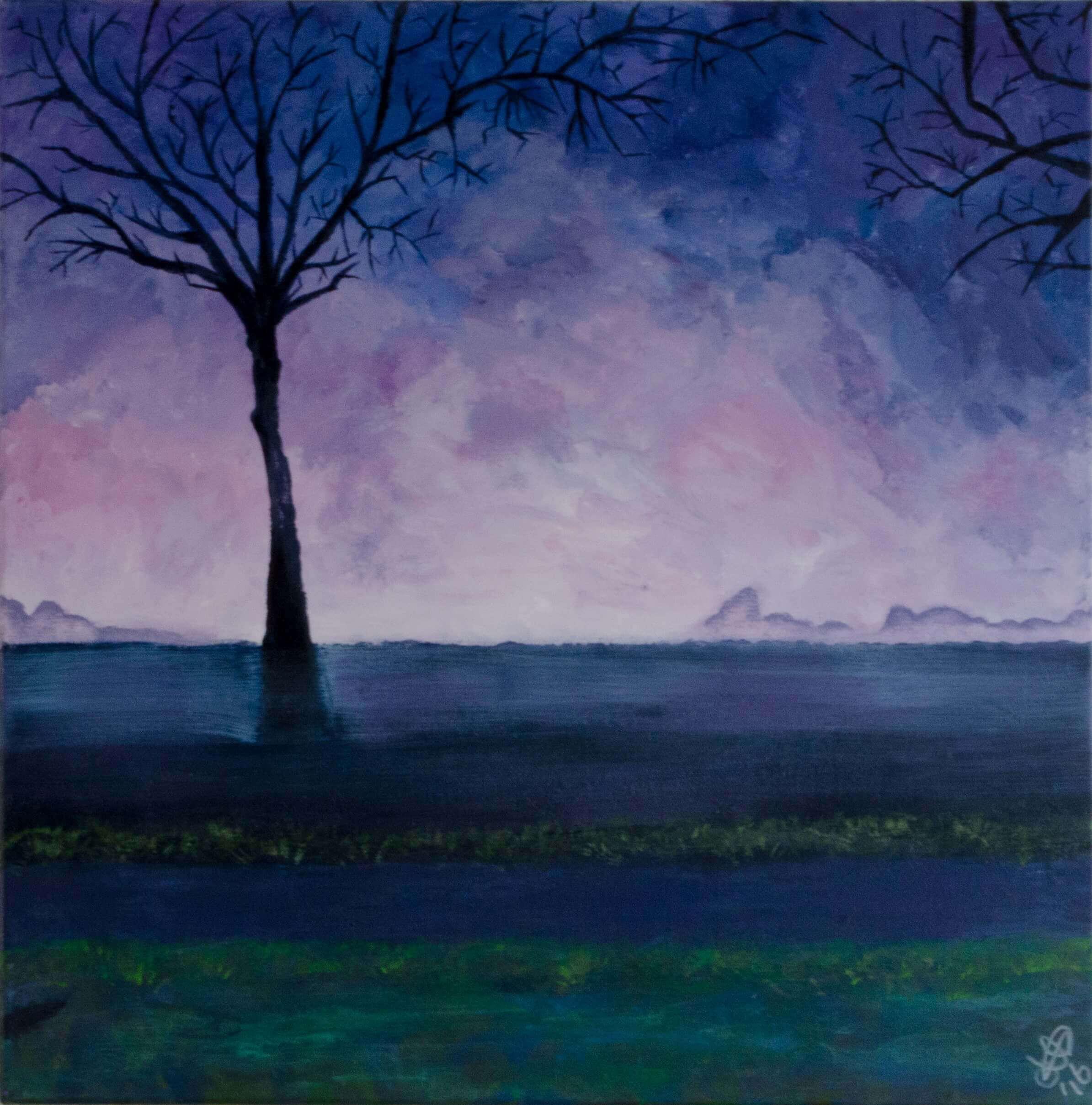 Paars schilderij van een donkere nacht