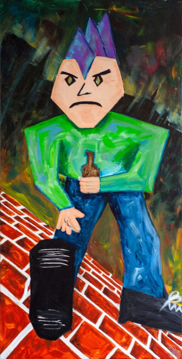 Schilderij angryman