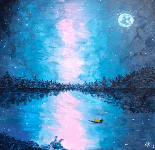 Abstract blauw schilderij visser in de nacht 50x50