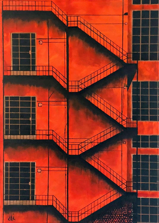 Oranje schilderij van een warme fabriekshal