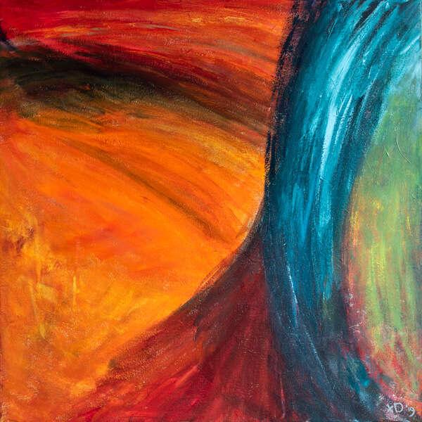 Abstract schilderij oranje