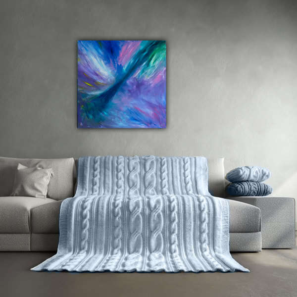 Bijzonder paars abstract schilderij 60x60