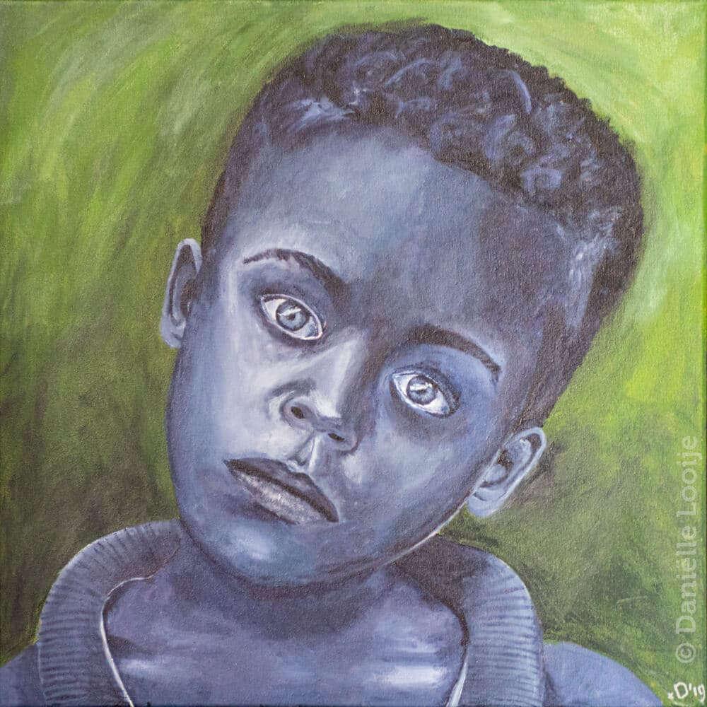 Portret van een verloren jongen groen schilderij