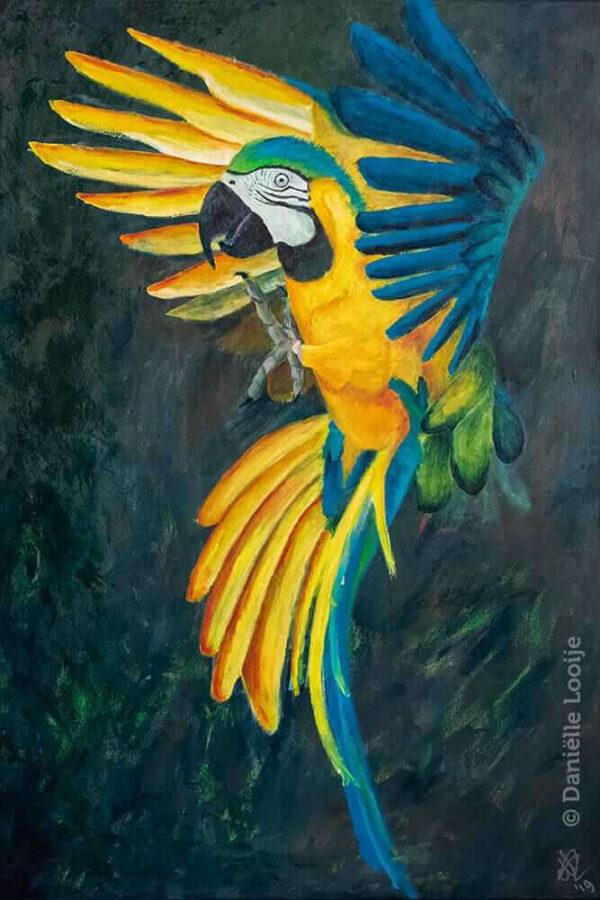 Bijzonder groot schilderij van blauwgele ara