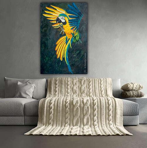 Schilderij van een ara blauw