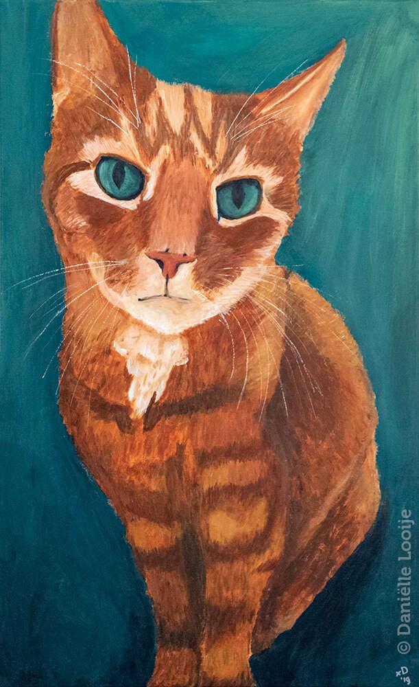 Schilderij van huiskat tommie