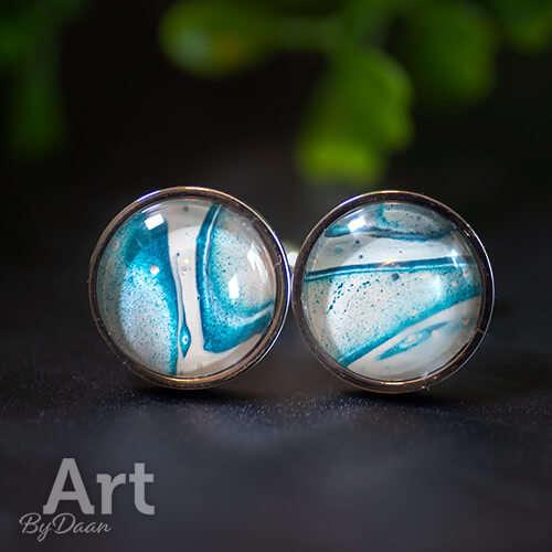 Bijzondere unieke manchetknopen met blauwe steen