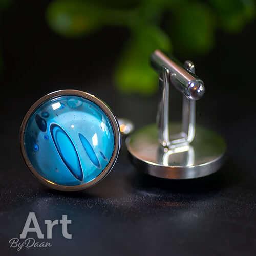 chique bijzondere manchetknopen met blauwe steen handgemaakt