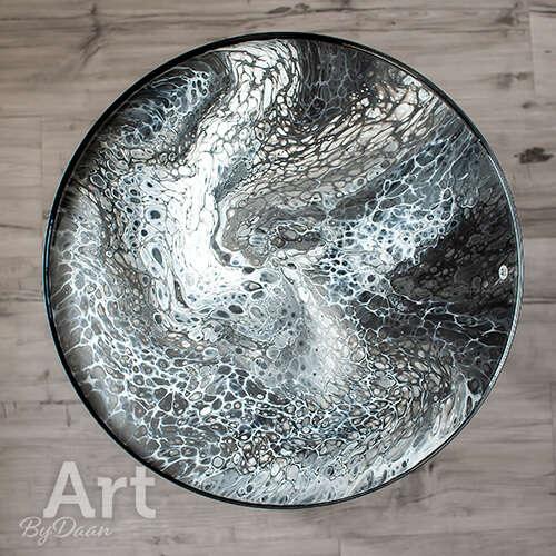Unieke design bijzettafel met zwart wit en zilver