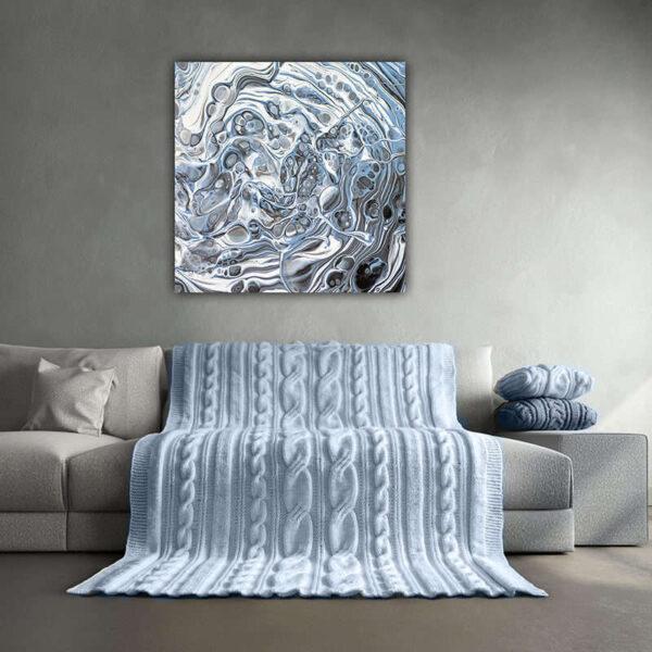 Schilderij 60x60 blauw grijs abstract