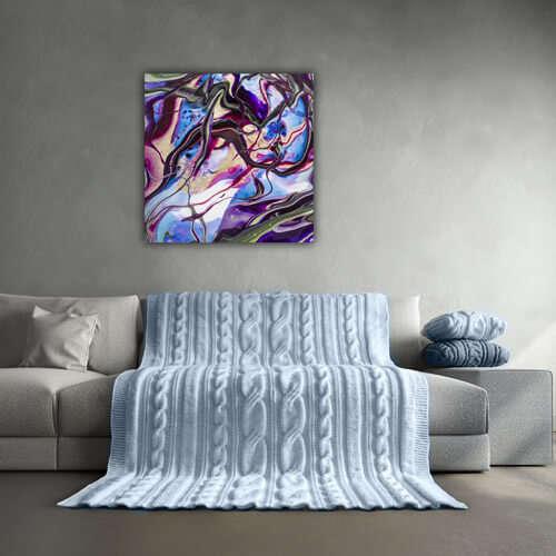 Abstract schilderij met felle kleuren op canvas gedrukt