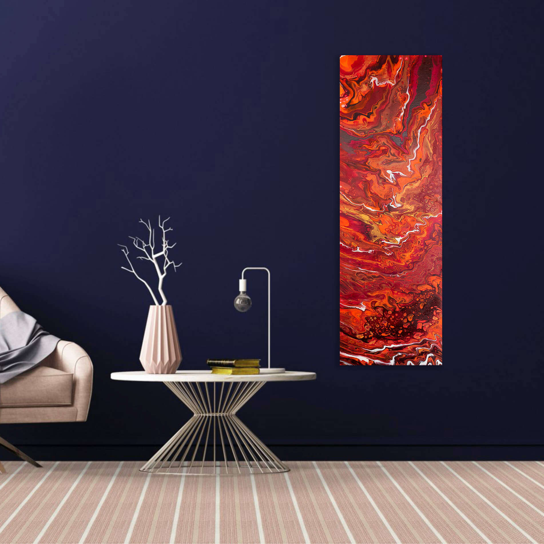 Langwerpig Canvas schilderij abstract oranje 'Bloody Fire' 120x40