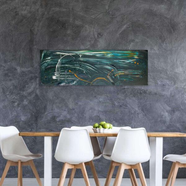 Langwerpig schilderij groen horizontaal