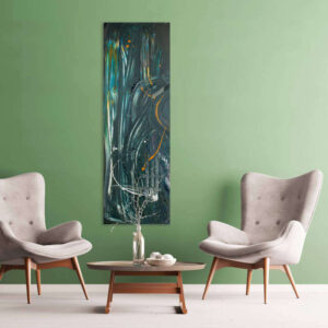 Langwerpig schilderij groen verticaal met donker - opvallende eigen kunst - Nu te koop in mijn webshop
