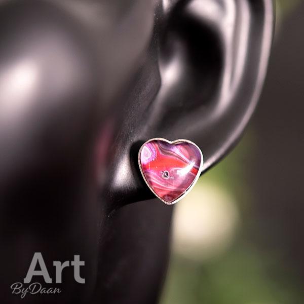 Handgemaakte hart oorbellen rood voor moederdag