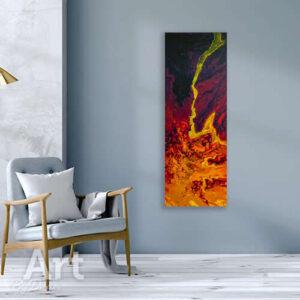 Langwerpig lavaschilderij met oranje en blauw