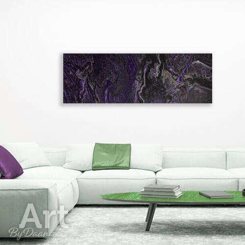 Langwerpig paars schilderij horizontaal - opvallende langwerpige schilderij - kunst en nu te koop in mijn webshop