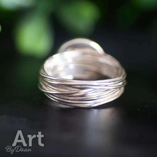 sterling zilveren wikkelring met paarse steen