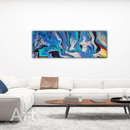 Langwerpig paars schilderij 120x40