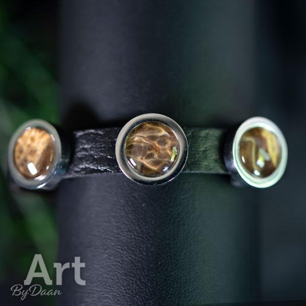 RVS armband leer zwart met bruine stenen