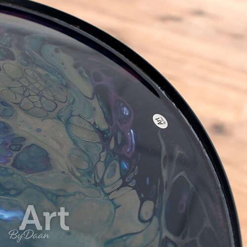 Unieke bijzettafel met ingegoten kunstwerk paars met grijs