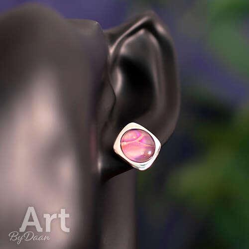 Echt zilveren oorknopjes met roze steen handgemaakt