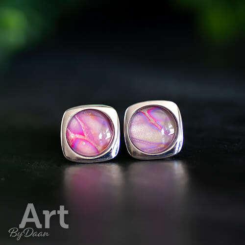 Handgemaakte zilveren sieraden - Echt zilveren oorknopjes met roze steen handgemaakt