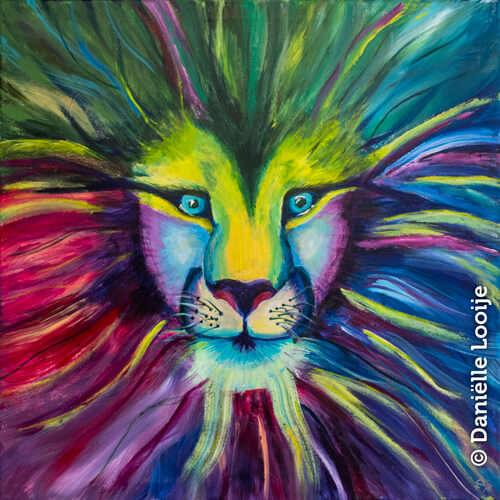 Kleurrijk schilderij van een leeuw in de jungle 80x80