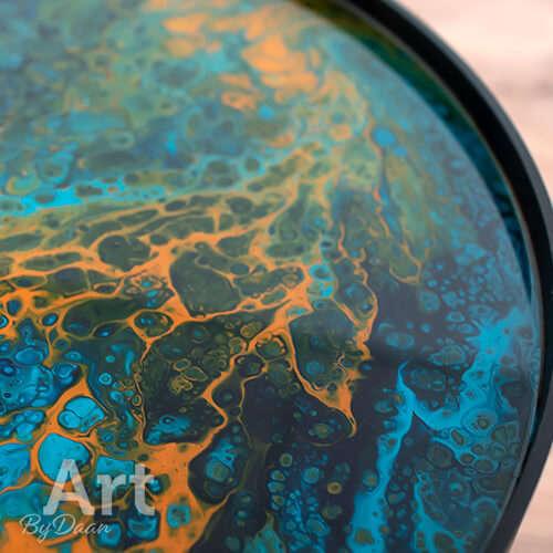 Unieke design bijzettafel blauw met oranje