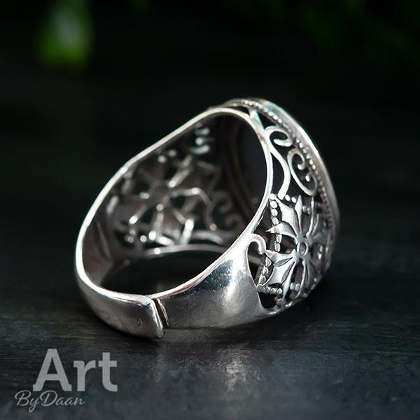 Zilveren verstelbare herenring met groene steen handgemaakte sieraden