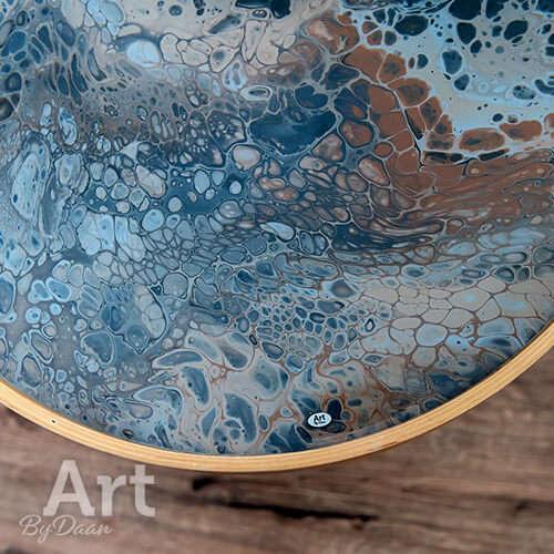 Bijzondere design bijzettafel met kunstwerk grijs en bruin