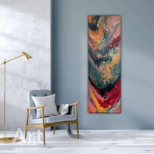 Langwerpig groot abstract schilderij met veel kleuren 120x40