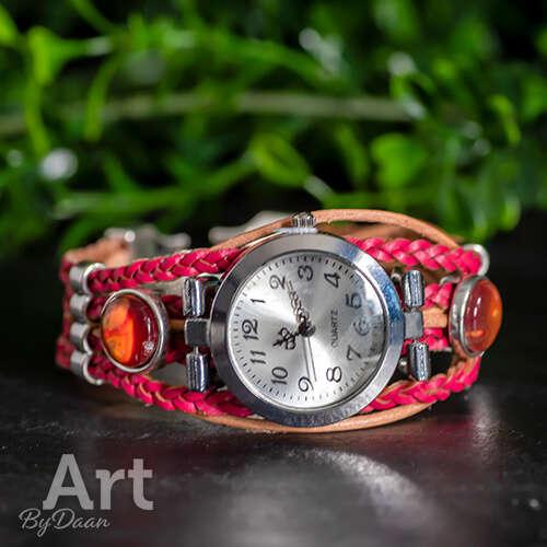 Uniek roze horloge met leer - handgemaakte sieraden