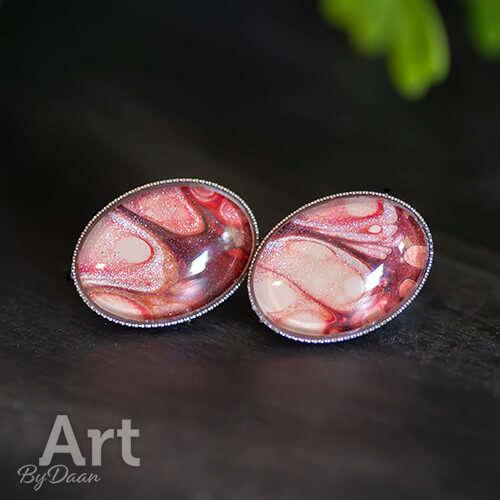 Unieke ovale oorstekers rood handgemaakt rvs - oorbellen kopen voor een vriendin