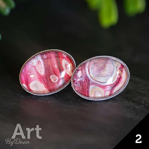 Unieke ovale oorstekers rood handgemaakt rvs