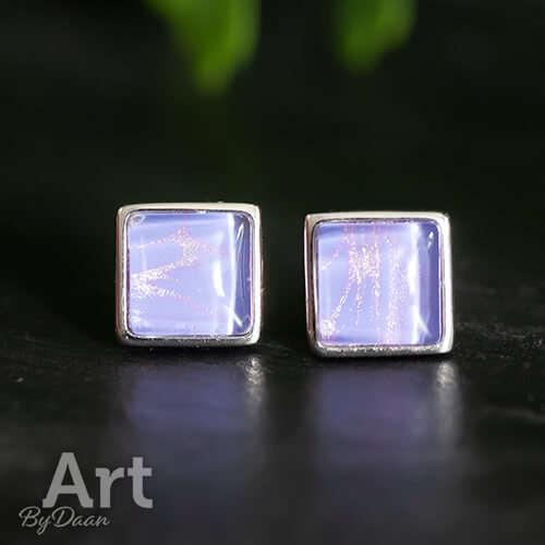 Unieke zilveren vierkante oorknopjes met paarse steen - Cabochon oorbellen kopen