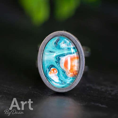 Unieke verstelbare damesring met turquoise steen