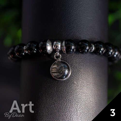 Armband met zwarte toermalijn en bedel - handgemaakte sieraden