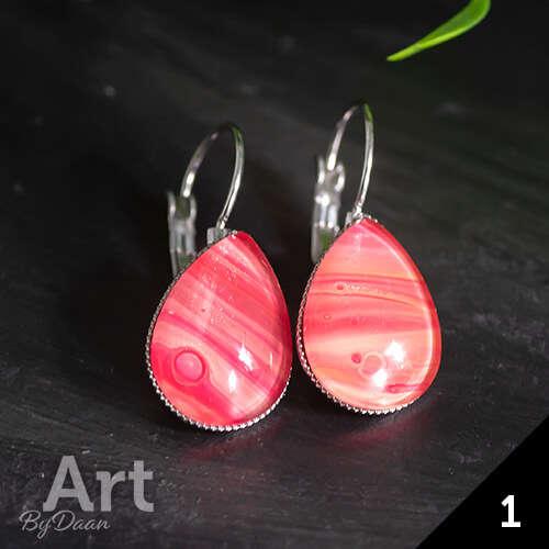 Dichte hangende druppeloorbellen met rode steen - handgemaakte sieraden