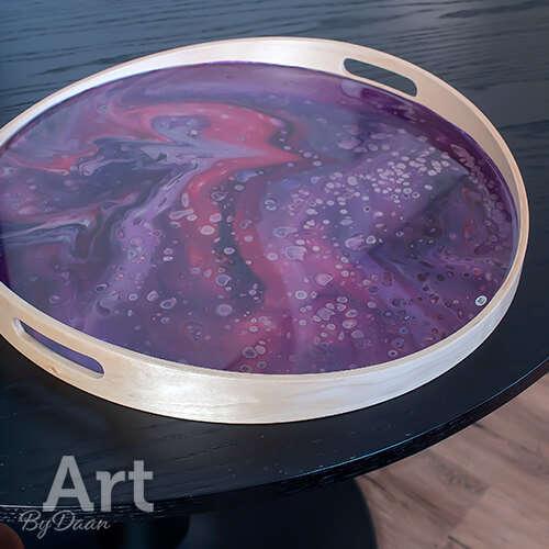 Uniek dienblad met paars kunstwerk 44 cm