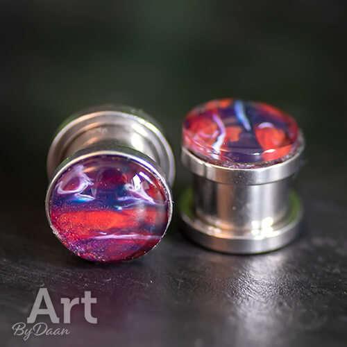 Unieke oorplugs met schroefdraad 10mm paars en oranje - handgemaakte sieraden