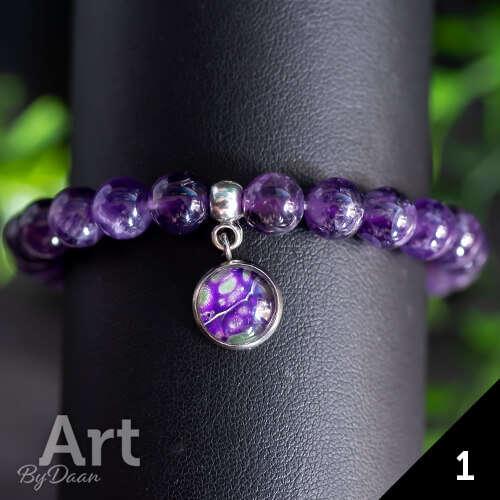 Unieke paarse armband met amethisten - handgemaakte sieraden