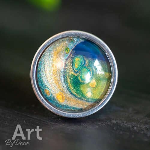 Unieke sieradenset met geel en blauw ring