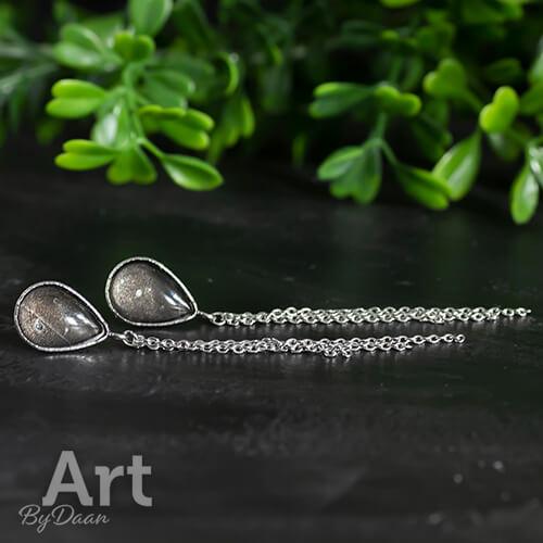 Druppeloorbellen met zwarte stenen en kettinkjes - handgemaakte sieraden
