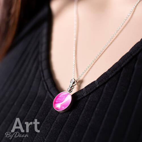 Echt zilveren hanger met roze steen