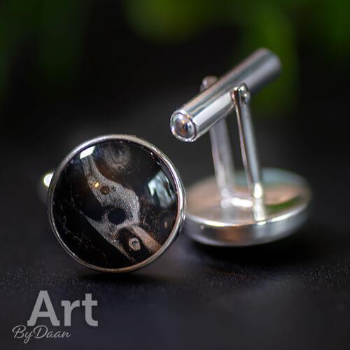 Exclusieve zilveren manchetknopen met zwarte steen