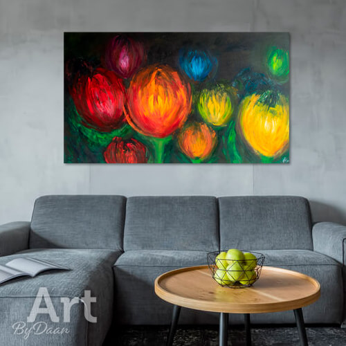 Groot abstract kleurrijk bloemen schilderij