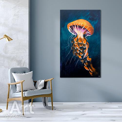 Groot schilderij van een abstracte kwal blauw met oranje
