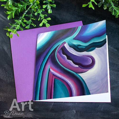 Kunstkaart met afdruk van schilderij met paarse envelop